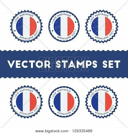 I Love Martinique Vector Stamps Set. Retro Patriotic Country Flag Badges. National Flags Vintage Rou