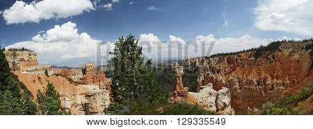 Panoramic view of an overlook at Bryce Canyon National Park Utah United States