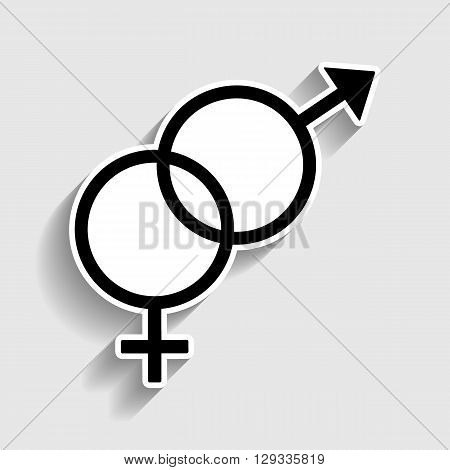 Sex symbol sign. Sticker style icon with shadow on gray.
