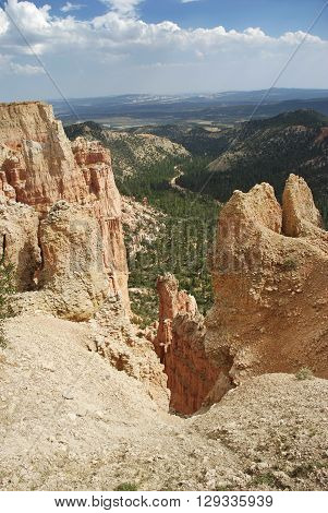 A valley seen through rock formations in Bryce Canyon National Park Utah United States.