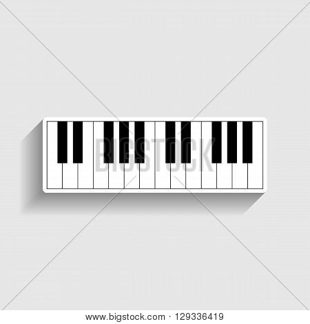 Piano Keyboard  sign. Sticker style icon with shadow on gray.