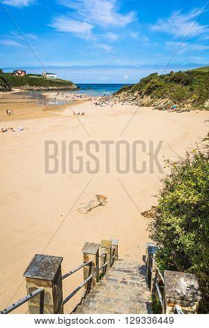Entreplayas beach in Galicia Spain. Paradise beach in Ribadeo Spai