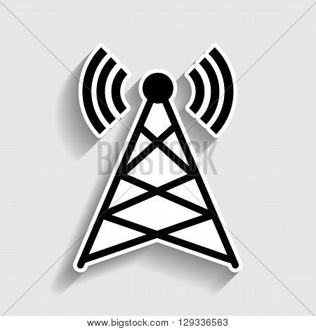 Antenna sign. Sticker style icon with shadow on gray.