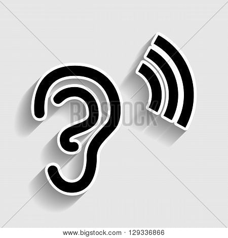 Human ear sign. Sticker style icon with shadow on gray.