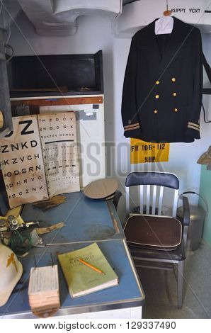 KEY WEST, FL, USA - DEC 20: Medical Room in USCGC Ingham (WHEC-35) on Dec 20, 2012 in Key West, Florida, USA. This ship a decommissioned United States Coast Guard Cutter, and now is the museum.