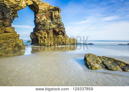 Famous Spanish destination Cathedrals beach (playa de las catedrales) on Atlantic ocean