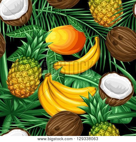 Seamless pattern with tropical fruits and leaves. Background made without clipping mask. Easy to use for backdrop, textile, wrapping paper.