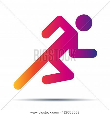 Running people. Hot speed design. Simple symbol of run isolated on a white background. Vector Illustration.