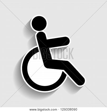 Disabled sign. Sticker style icon with shadow on gray.