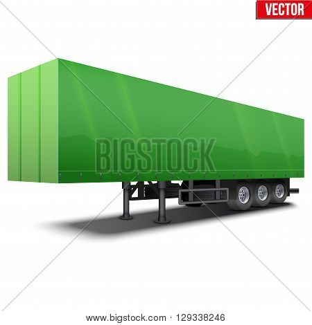 Blank parked green semi trailer with canvas cover. Perspective side view. Vector Illustration Isolated on white background