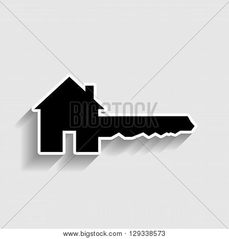 Home Key sign. Sticker style icon with shadow on gray.
