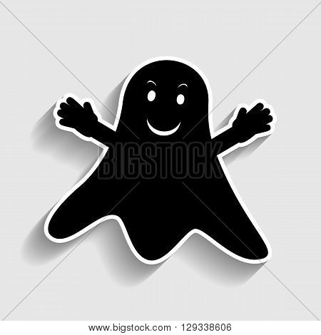 Ghost isolated sign. Sticker style icon with shadow on gray.