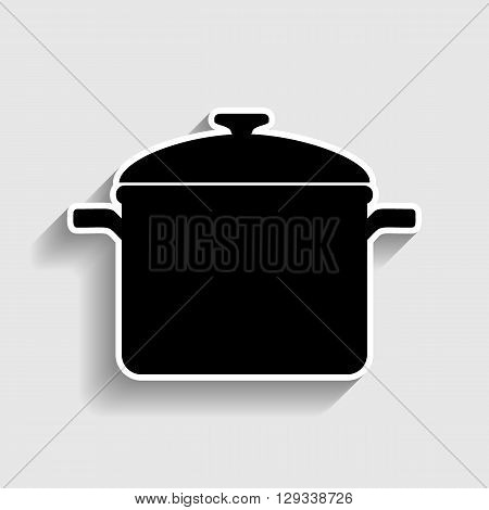 Cooking pan sign. Sticker style icon with shadow on gray.