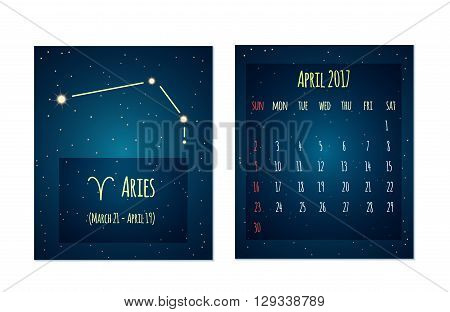 Vector calendar for April 2017 in the space style. Calendar with the image of the Aries constellation in the night starry sky. Elements for creative design ideas of your calendar
