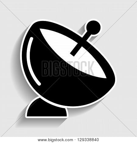 Satellite dish sign. Sticker style icon with shadow on gray.
