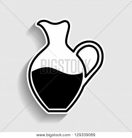 Amphora sign. Sticker style icon with shadow on gray.