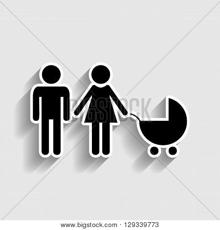 Family sign. Sticker style icon with shadow on gray.
