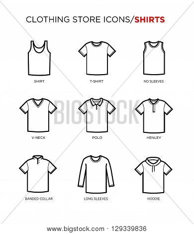 T shirt icon set. Clothing store. Different styles. Vector eps 10