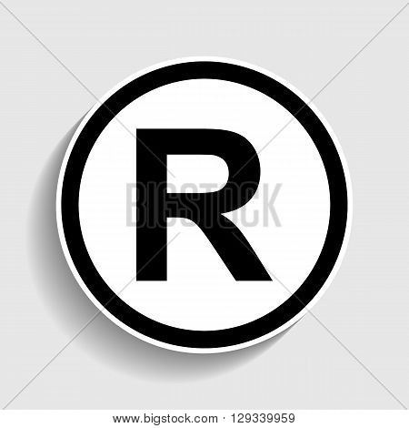 Registered Trademark sign. Sticker style icon with shadow on gray.