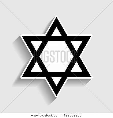 Star. Shield Magen David. Symbol of Israel. Sticker style icon with shadow on gray.