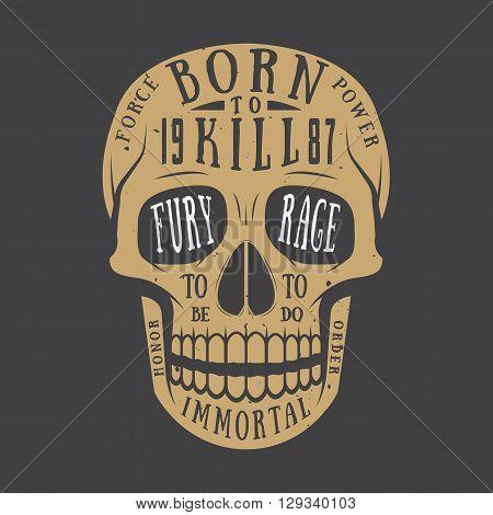 Vintage skull label emblem and logo. Vector illustration
