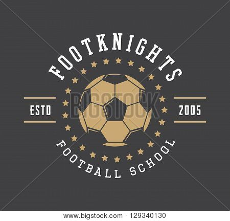 Vintage soccer or football logo emblem badge label and watermark with ball in retro style. Vector illustration