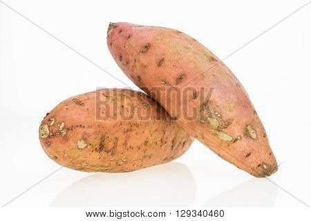 Fresh Sweet Potatoes , Isolated On White Background