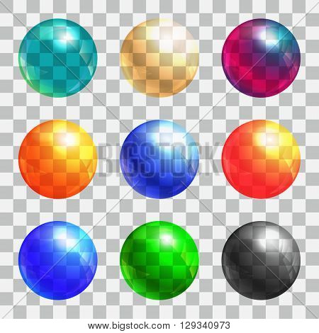 Color balls set. Colored button collection. Colorful bubble circle. Vector illustration