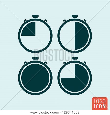 Stopwatch icon. Stopwatches in different positions. Vector illustration