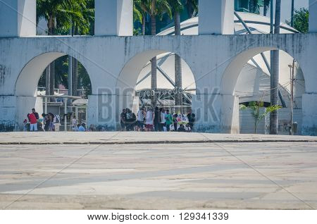 Rio De Janeiro, Brazil - March 06, 2016:  Landmark White Arches Of Arcos Da Lapa In Front Of Circo V