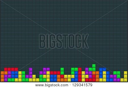 Old video game square template. Colored line brick game pieces. Wallpaper design. Vector illustration.