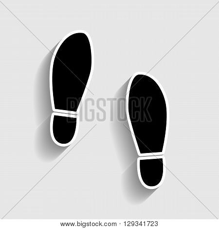 Imprint soles shoes sign. Sticker style icon with shadow on gray.