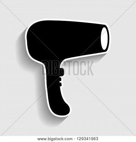 Hair Dryer sign. Sticker style icon with shadow on gray.