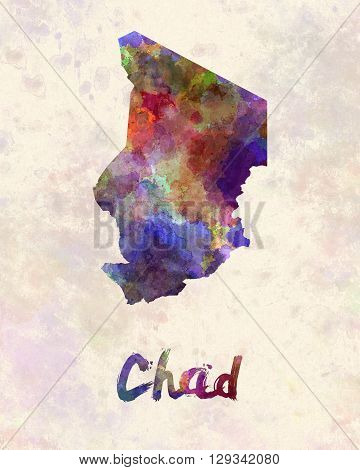 Chad map in artistic and abstract watercolor