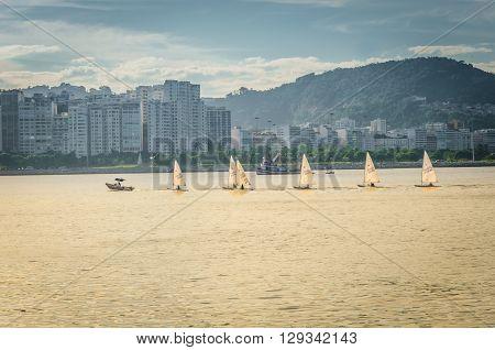 Rio De Janeiro, Rj Brazil - Mar 05, 2016: Boat At Port Of Urca. Urca Is A District In Rio De Janeiro