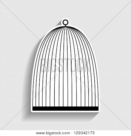 Bird cage sign. Sticker style icon with shadow on gray.