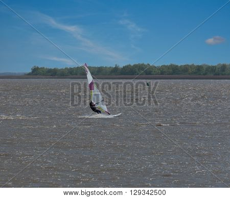 Water sports on my board on a river