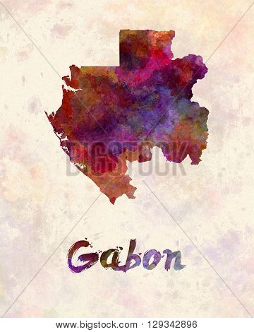 Gabon map in artistic and abstract watercolor