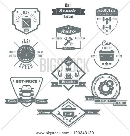 Car repair black white badges with automobile chassis mechanic tools speedometer fuel battery tires isolated vector illustration