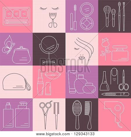 Beauty, Cosmetic and Makeup line icons. Beauty logo design elements. Symbols and icons for fashion, beauty salon, spa, hairdressers or wellness centers. Women accessories.