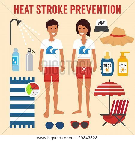 Heat sun stroke prevention. Healthcare summer infographic, Vector illustration