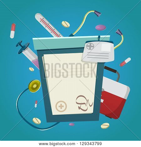 Medicine And Treatment Poster with medical history or prescription other medical instruments and accessories vector illustration