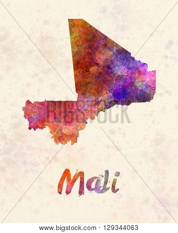 Mali map in artistic and abstract watercolor