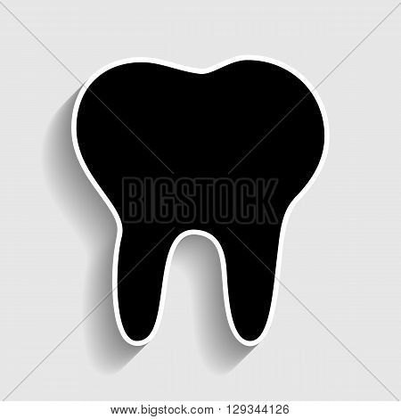 Tooth sign. Sticker style icon with shadow on gray.