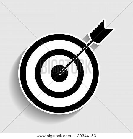 Target with dart. Sticker style icon with shadow on gray.