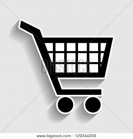 Shopping cart sign. Sticker style icon with shadow on gray.