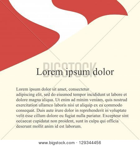 Peruvian flag background. Red, white flag on light pink background, grey Lorem ipsum, vector