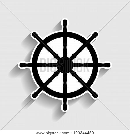 Ship wheel sign. Sticker style icon with shadow on gray.