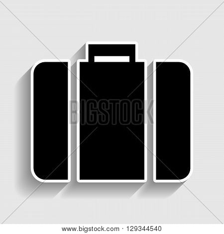 Briefcase sign. Sticker style icon with shadow on gray.