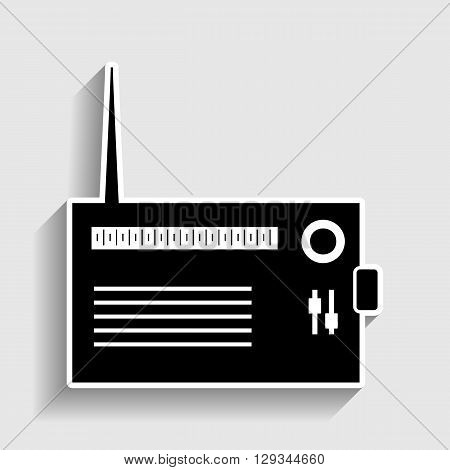 Radio sign. Sticker style icon with shadow on gray.
